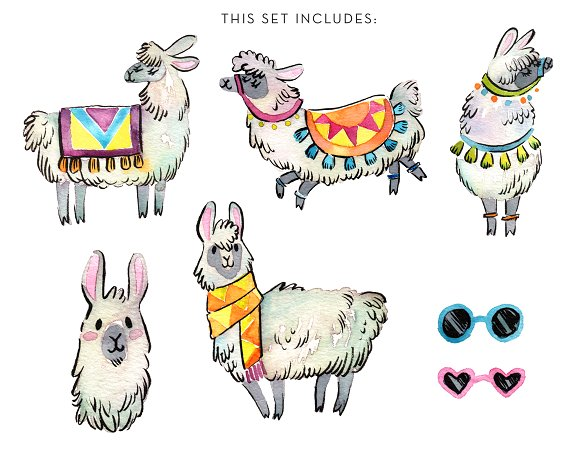 Llama clipart. Party watercolor set illustrations