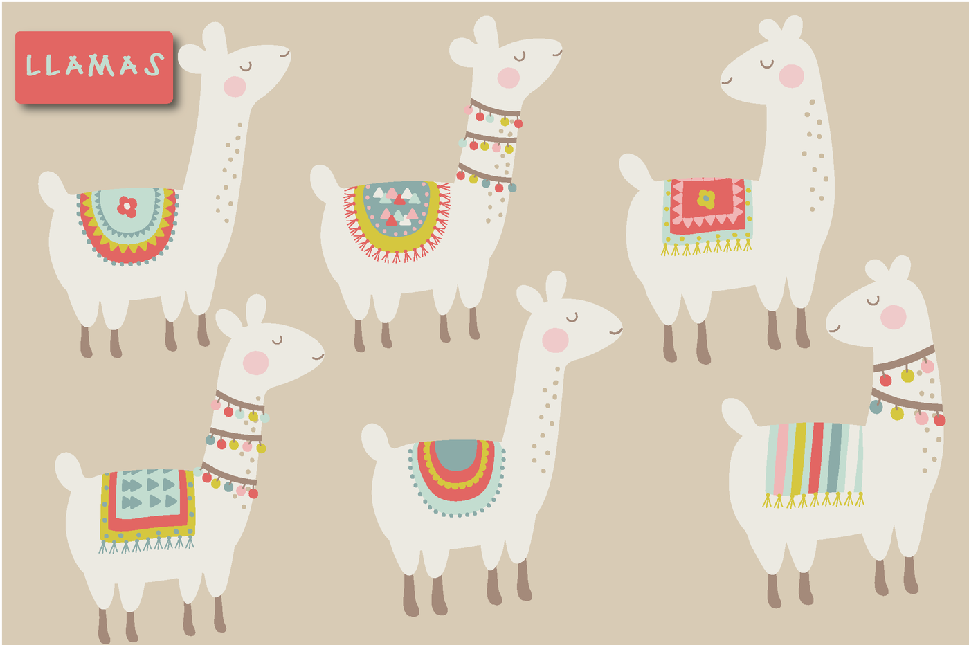Llama clipart. Cute by poppymoon design