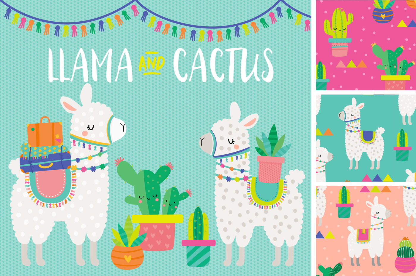 Llama clipart. And cactus patterns by