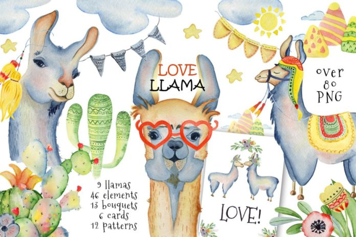 Llama clipart. Cute llamas collection xquissive