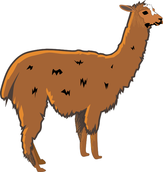Llama clipart colorful. Shaggy brown clip art