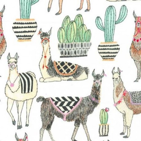 Llama clipart colorful. White michael miller fabric
