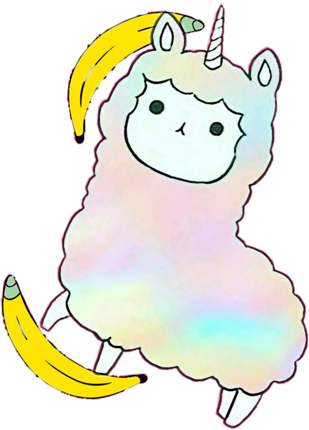 Llama clipart adorable. Llamacorn cute fluffy rainbow