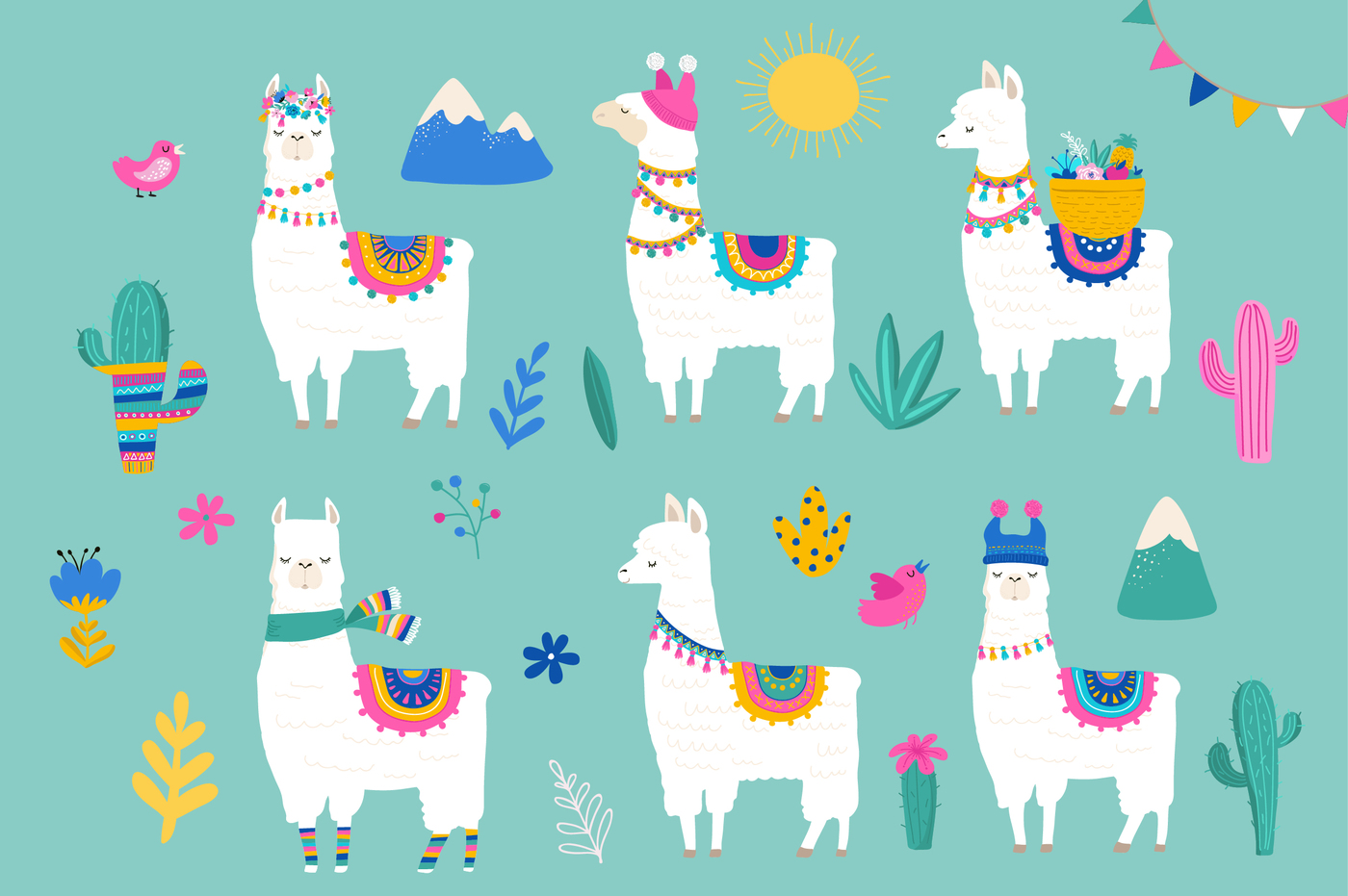 Llama clipart mexican. Hola cute summer collection