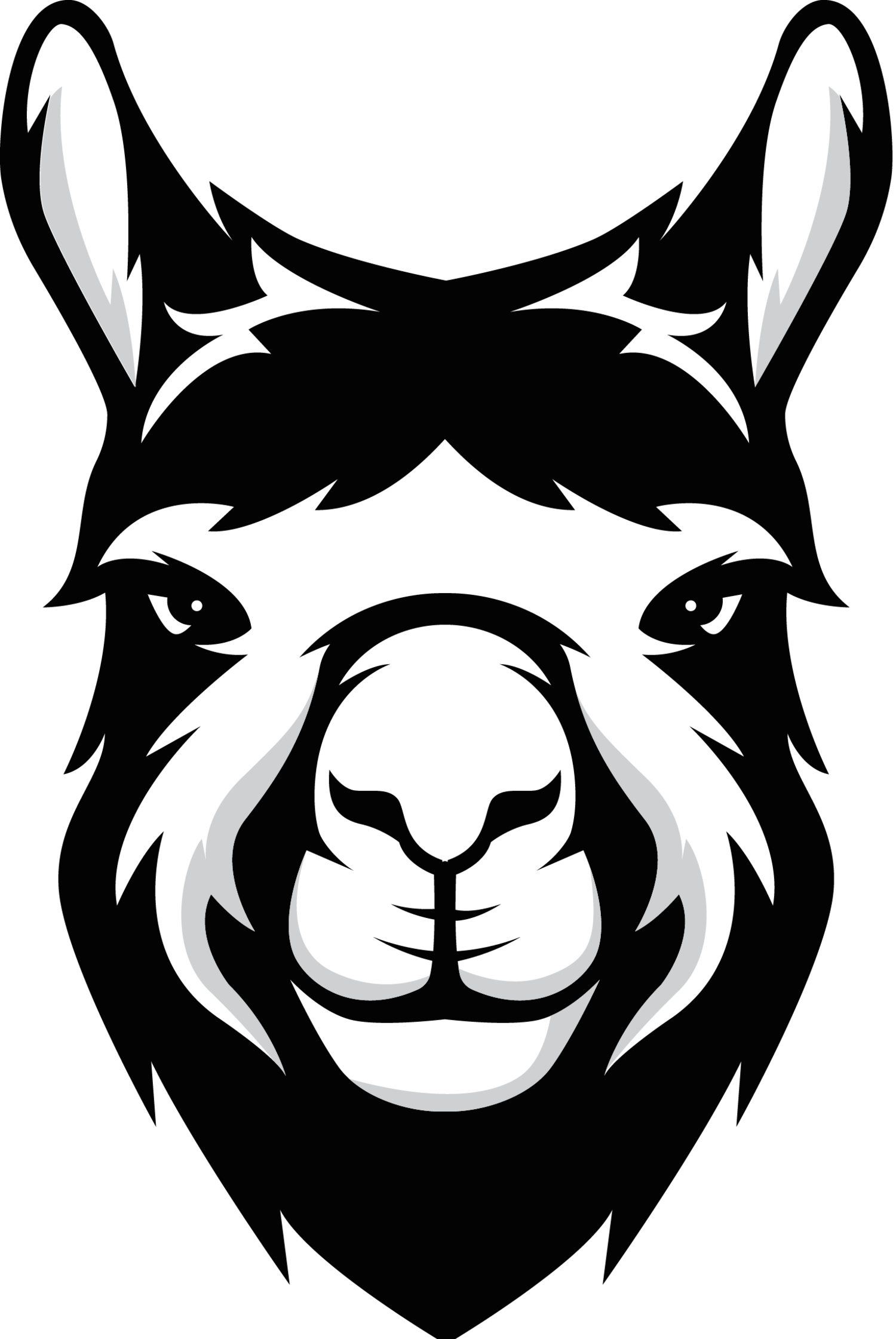 Llama face png black. Alpaca knows logo facepng