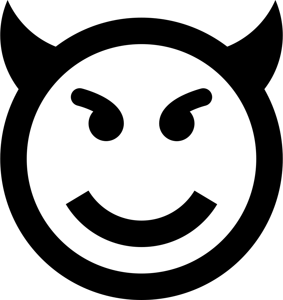 Llama face png black. Evil emoticon smiley svg
