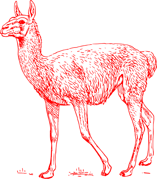Llama outline png. Red clip art at