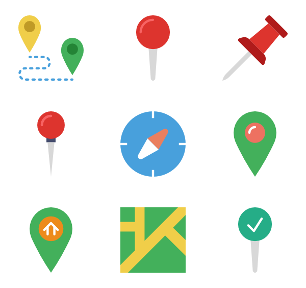 Pins vector colorful. Location icons free and