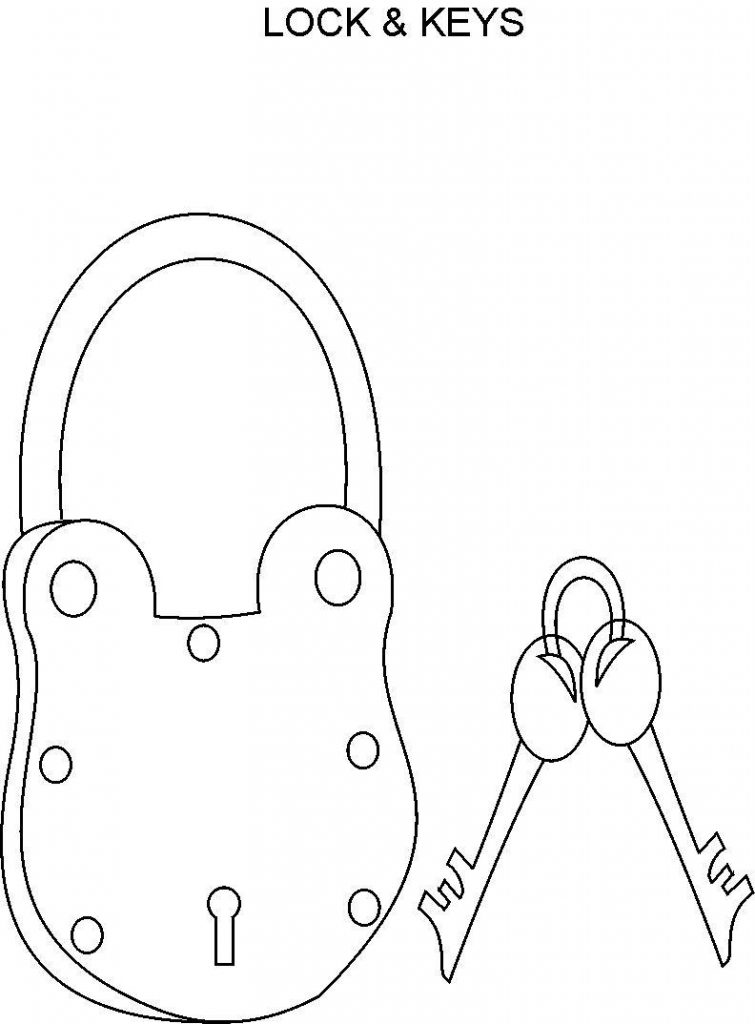 Lock clipart colouring. And key coloring page