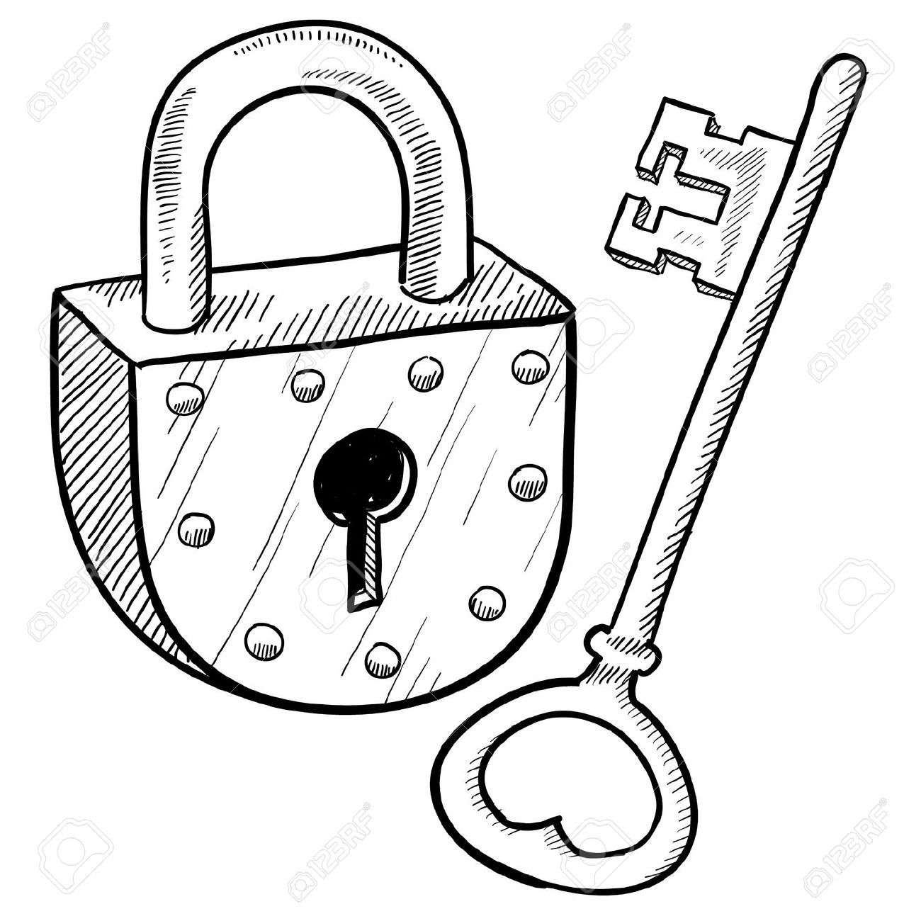 Lock clipart colouring. Security and key coloring