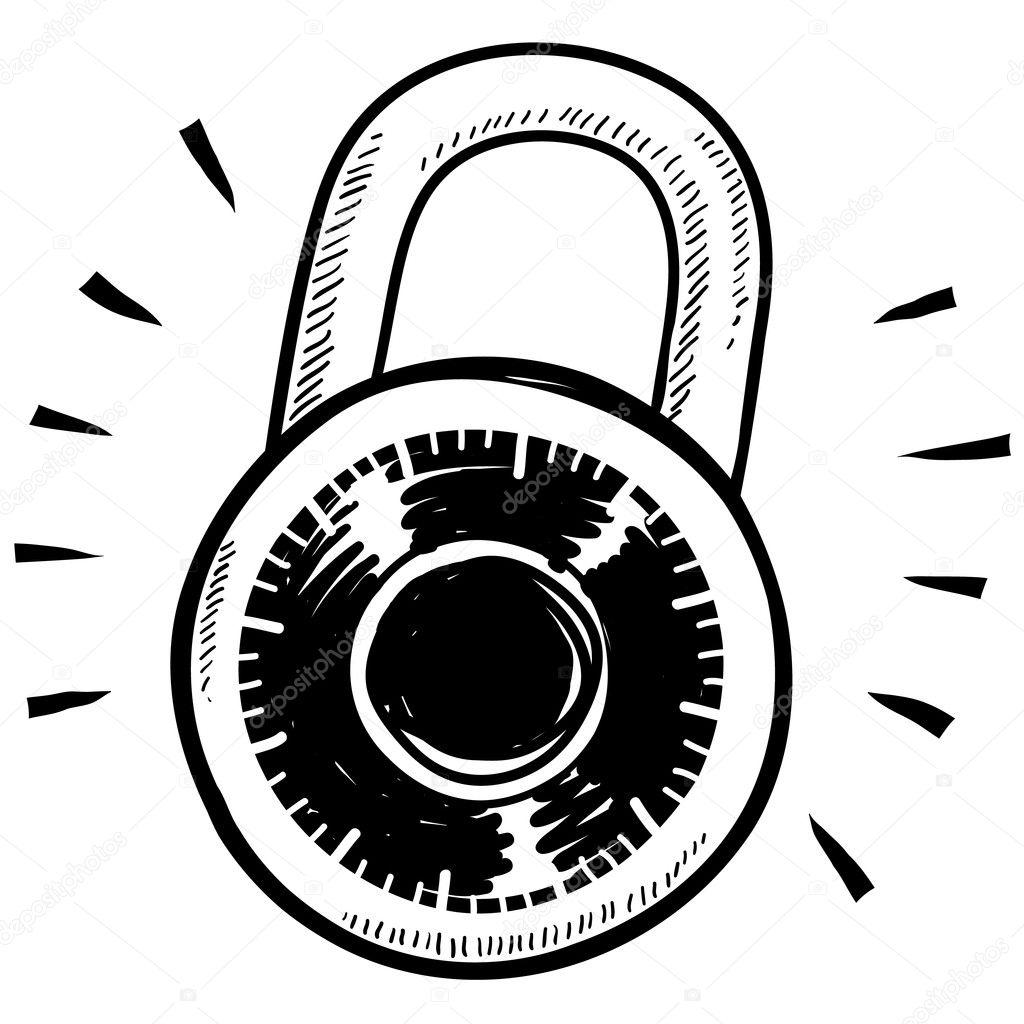 Lock clipart combo lock. Secure combination sketch stock