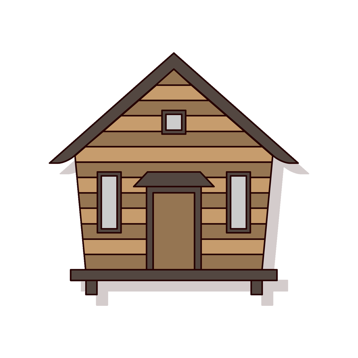 Cottage vector house simple. Home log cabin wooden