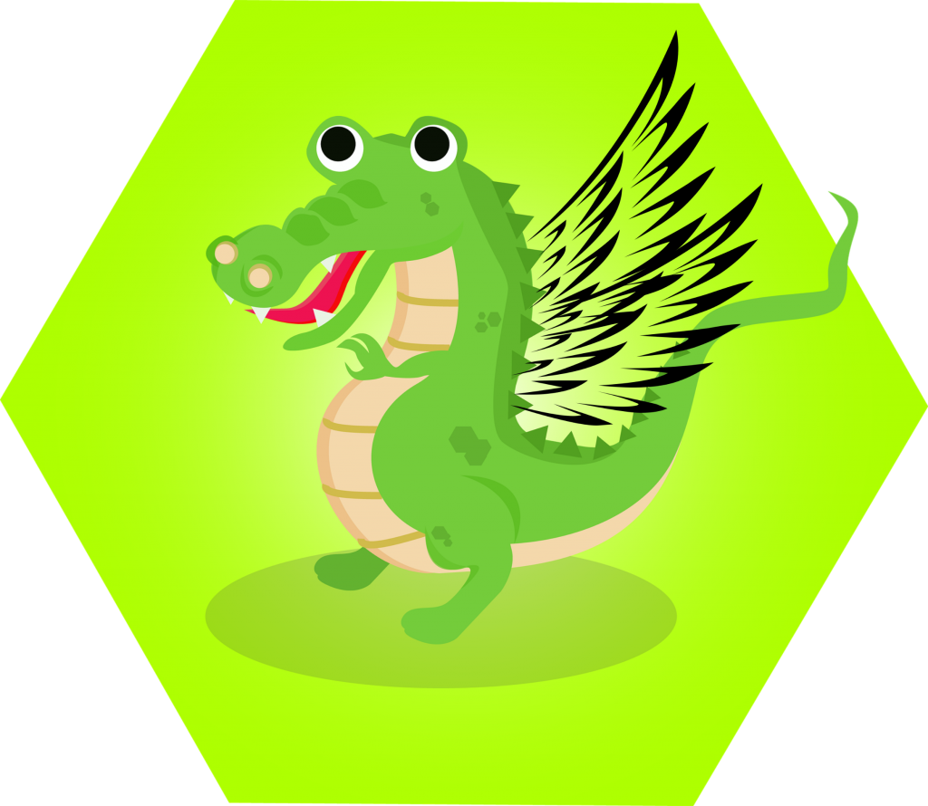 Long clip crocodile. The with wings neev