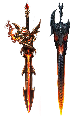 Weapon drawing concept. Fire elemental designs d