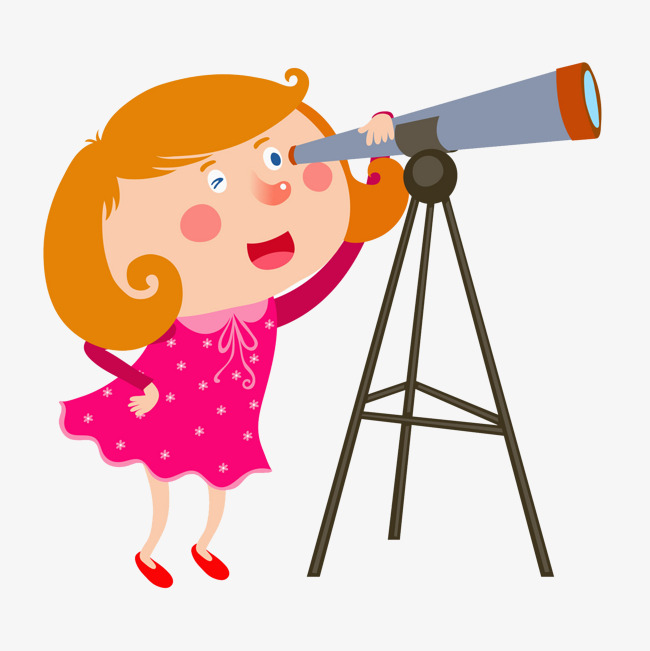 Looking clipart telescope. A girl through see
