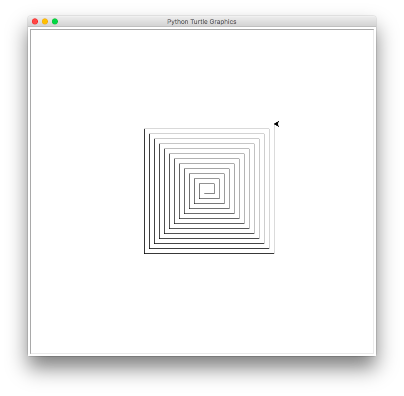 Loop drawing spiral. Turtles solutions to draw