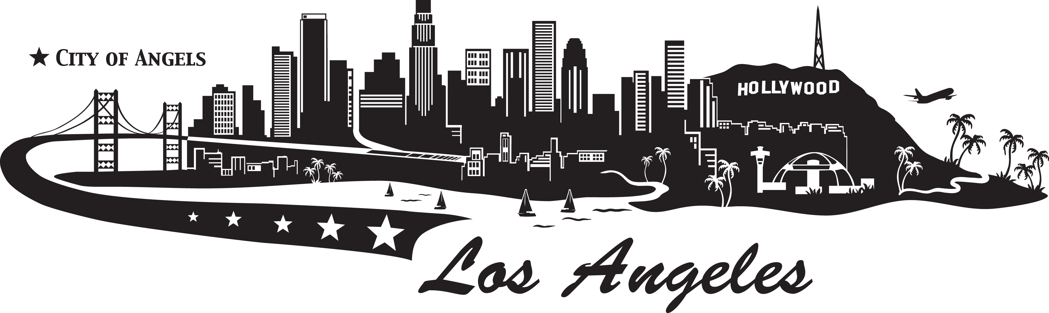 Los angeles skyline png. City wall decal decalwall