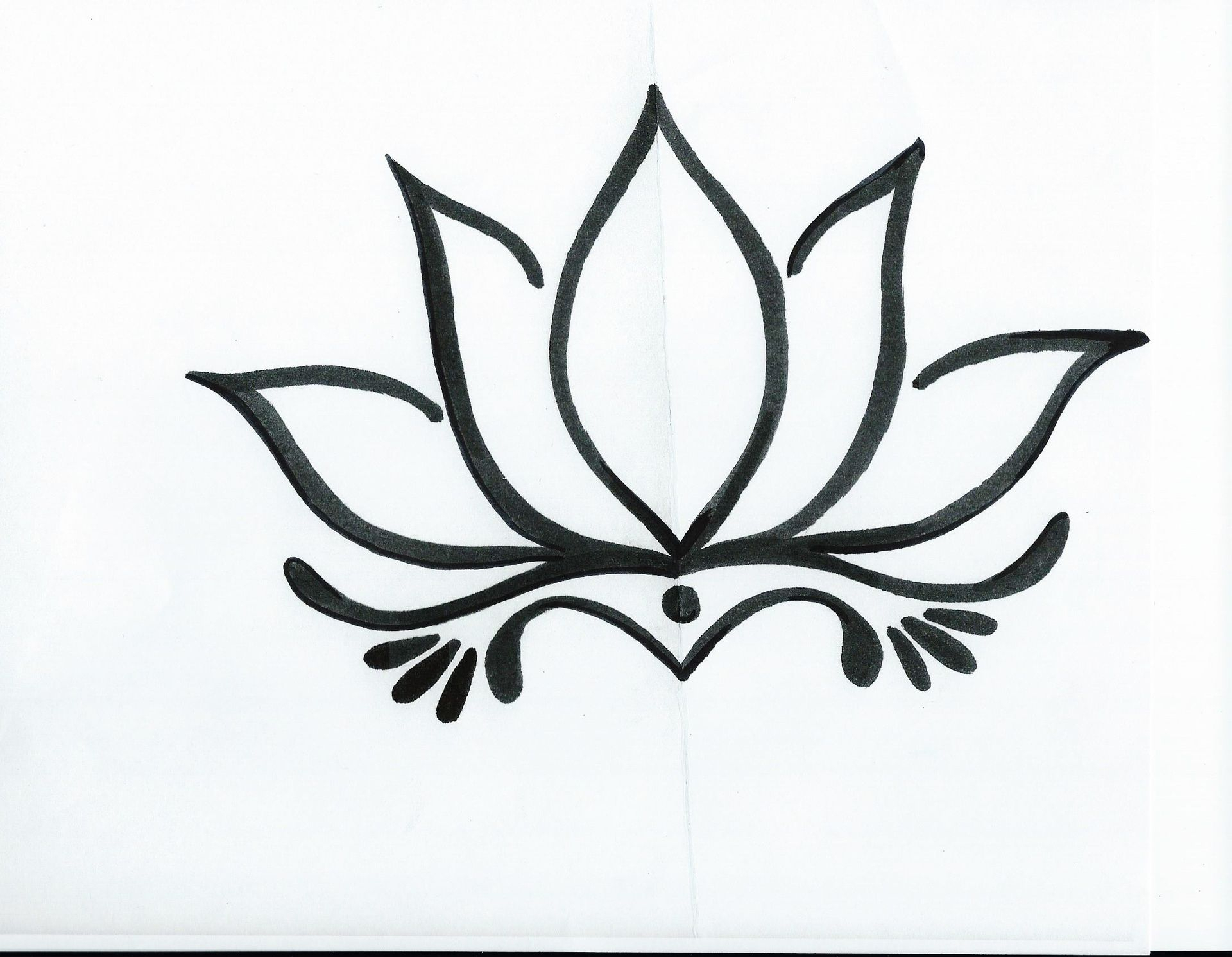 Lotus clipart easy draw. Simple flower drawing pencil
