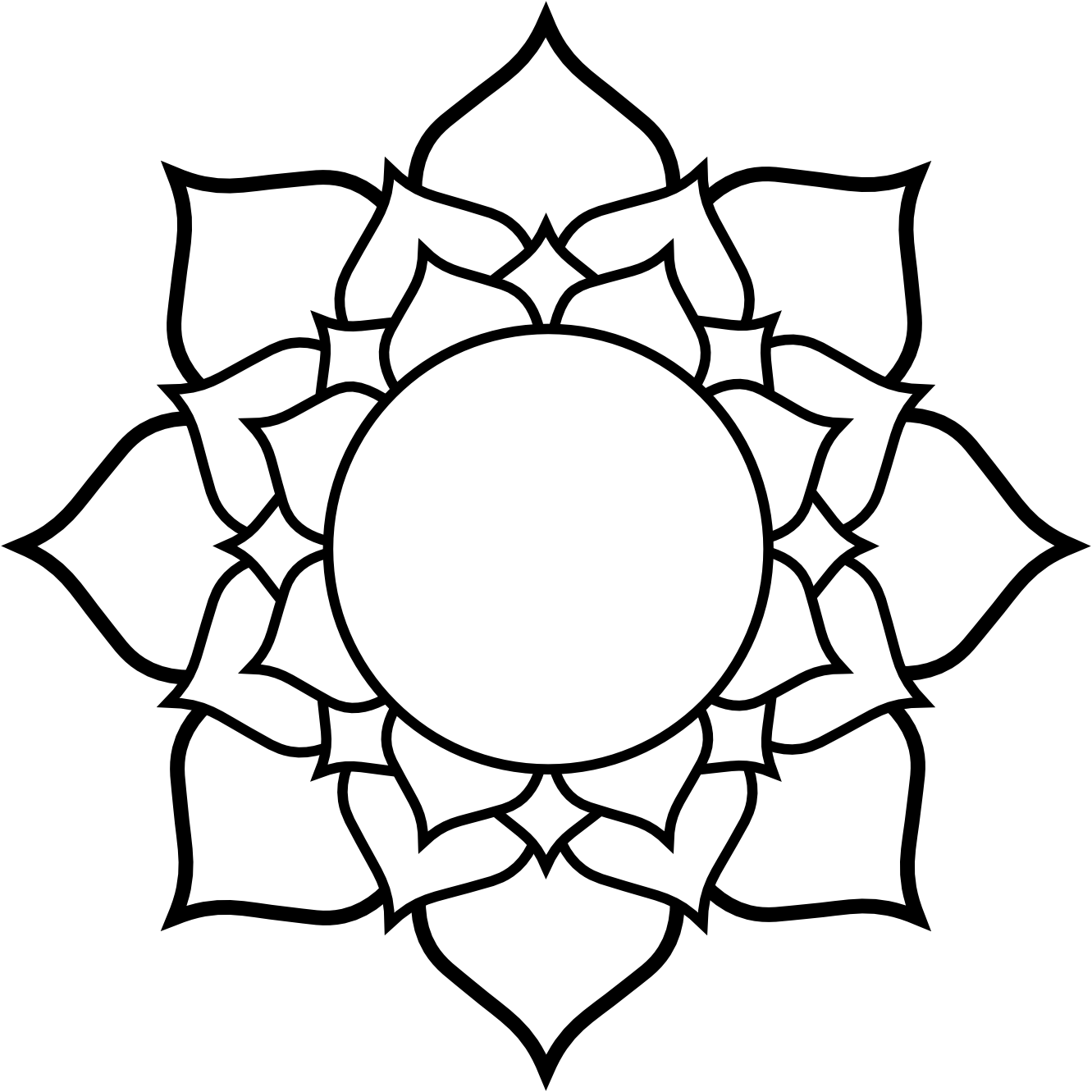 Lotus clipart easy draw. Free flower line drawing