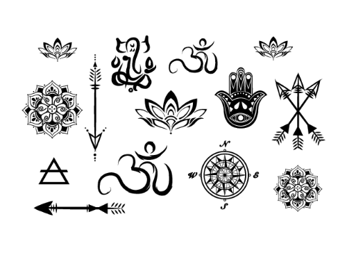 Lotus tattoo png. Yoga minis set pinterest