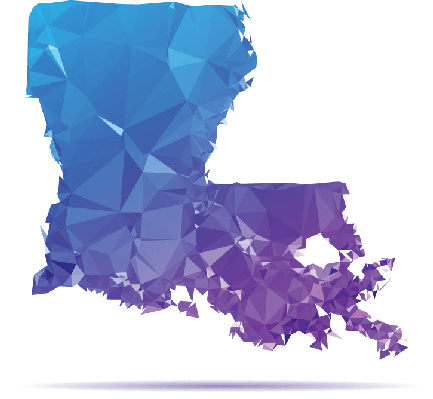 Polygon triangle map blue. Louisiana clipart banner black and white