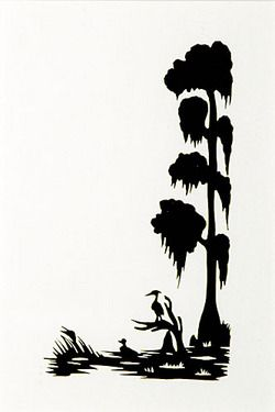 Silhouette rice carew signed. Louisiana clipart cypress tree vector black and white download