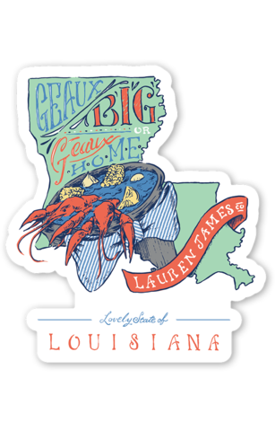 Louisiana clipart sticker. Geaux big or home