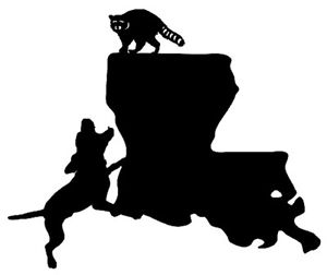 Louisiana clipart sticker. Coon hunting state decal