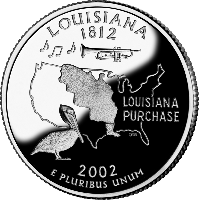 Louisiana drawing animal. State quarters quarter