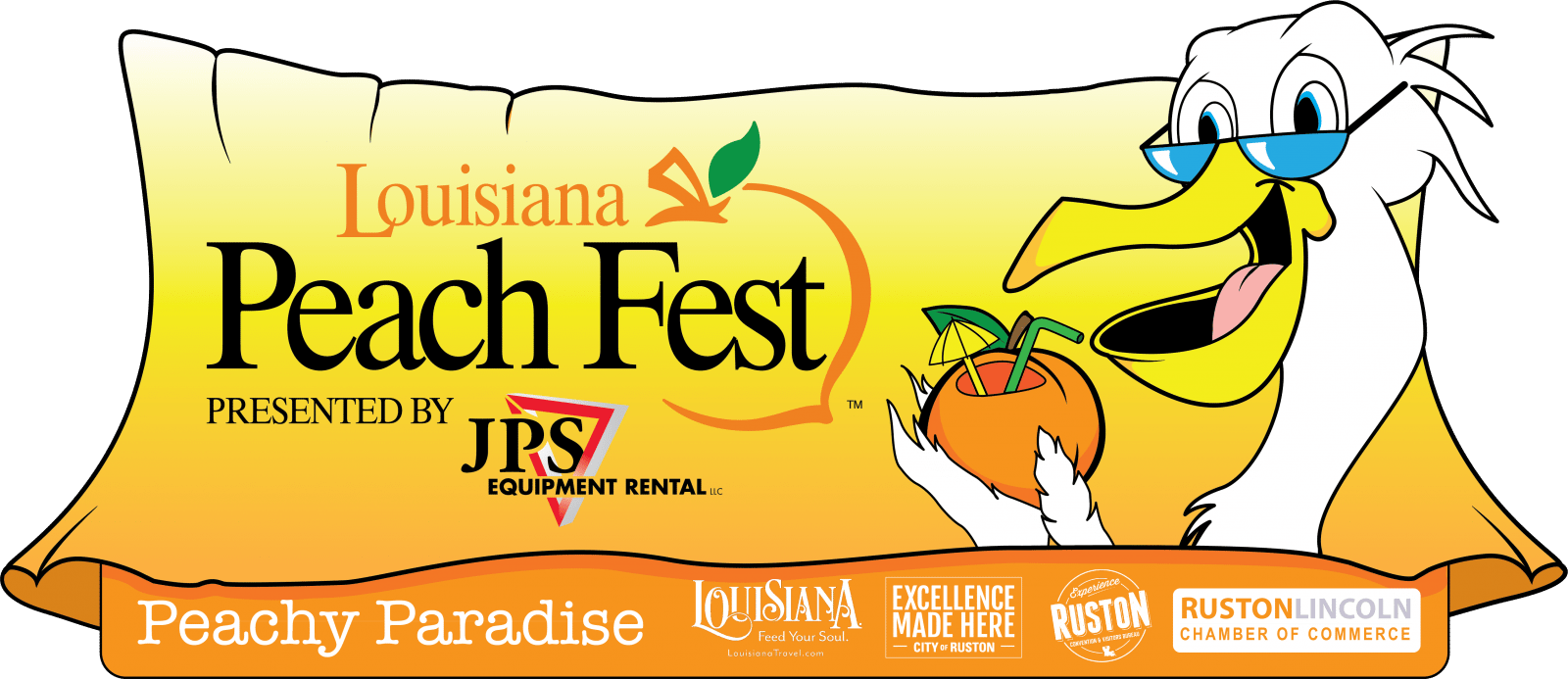 Louisiana drawing cross. Home peach festival logo