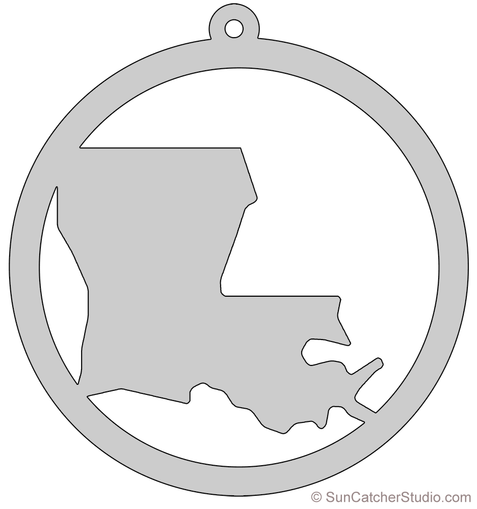 Louisiana drawing stencil. Map outline printable state