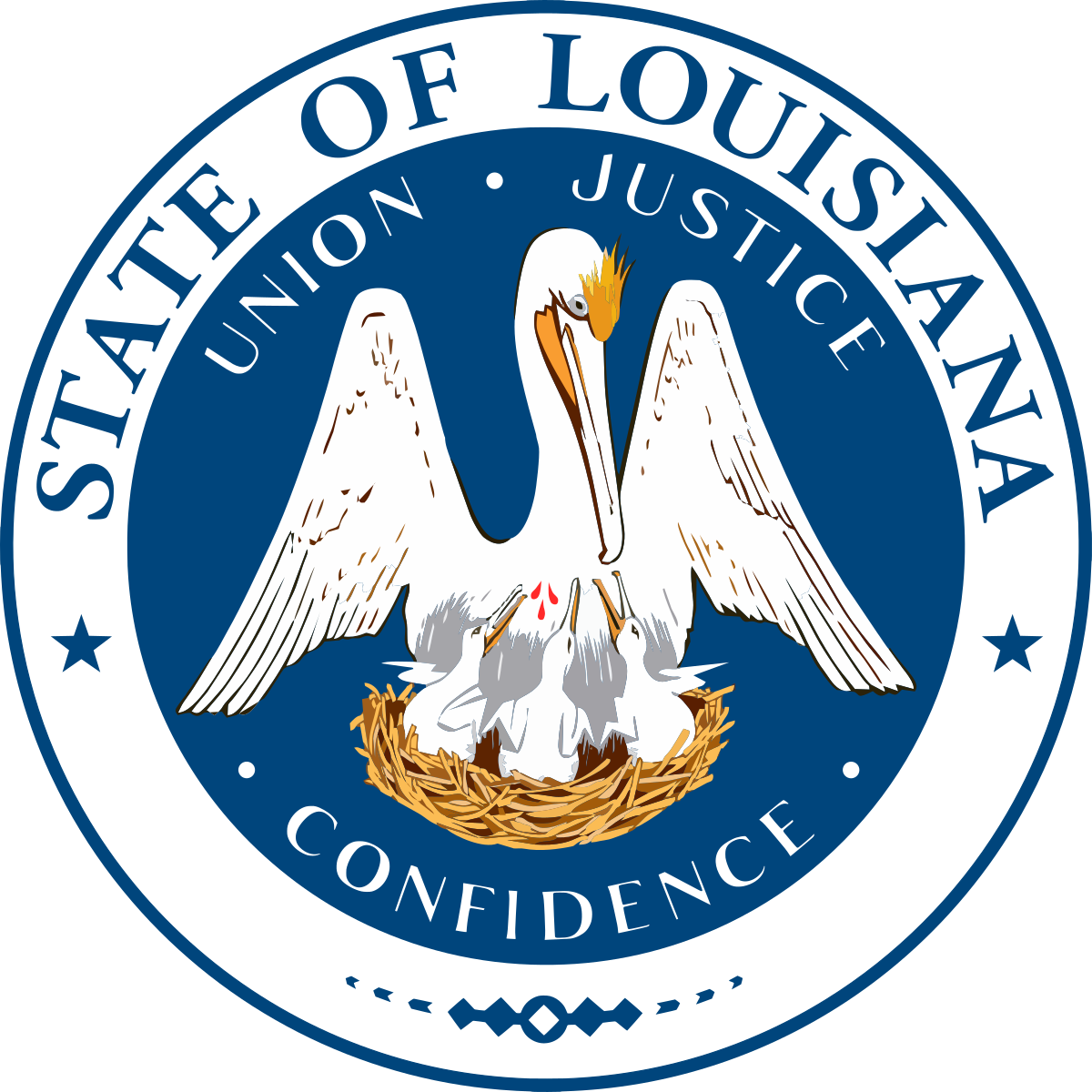 Louisiana drawing pelican. Seal of wikipedia