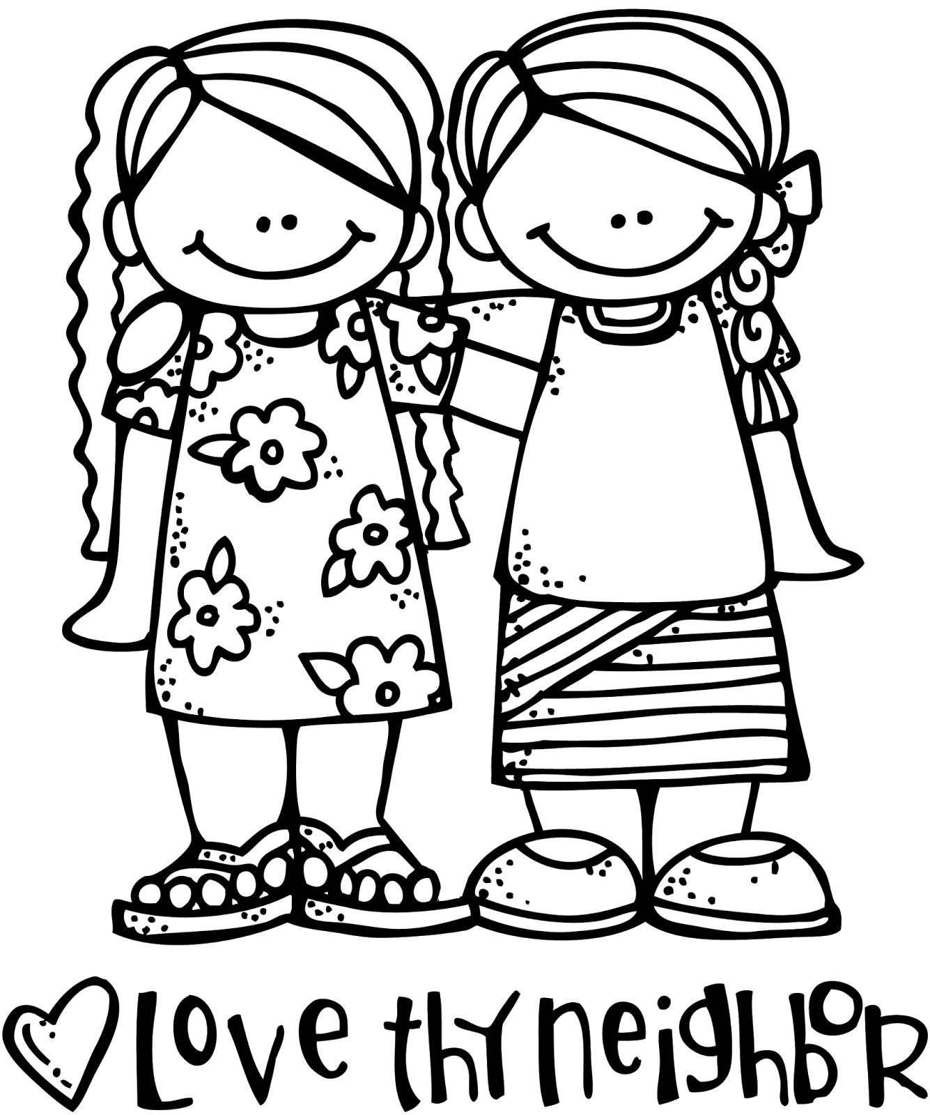 Love clipart neighbor. Edge thy coloring pages