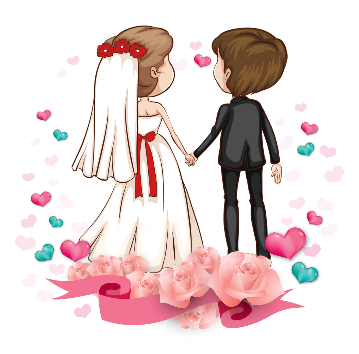 Love couple png. Romance cartoon marriage transprent