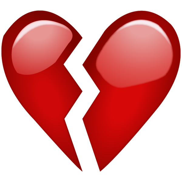 Heart, png sad. Broken red heart emoji