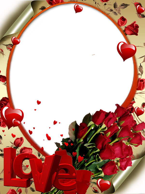 Love frame png. Red transparent with roses