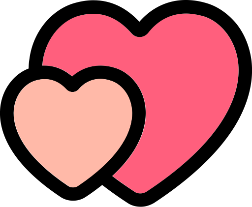 Love icon png. Two hearts with and