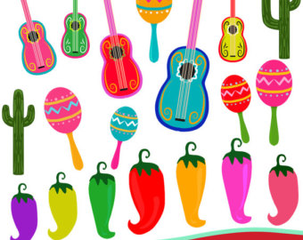Luau clipart guitar mexican. Etsy fiesta instant download