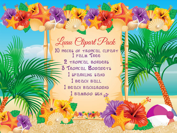 Luau clipart luau invitation. Beach pack