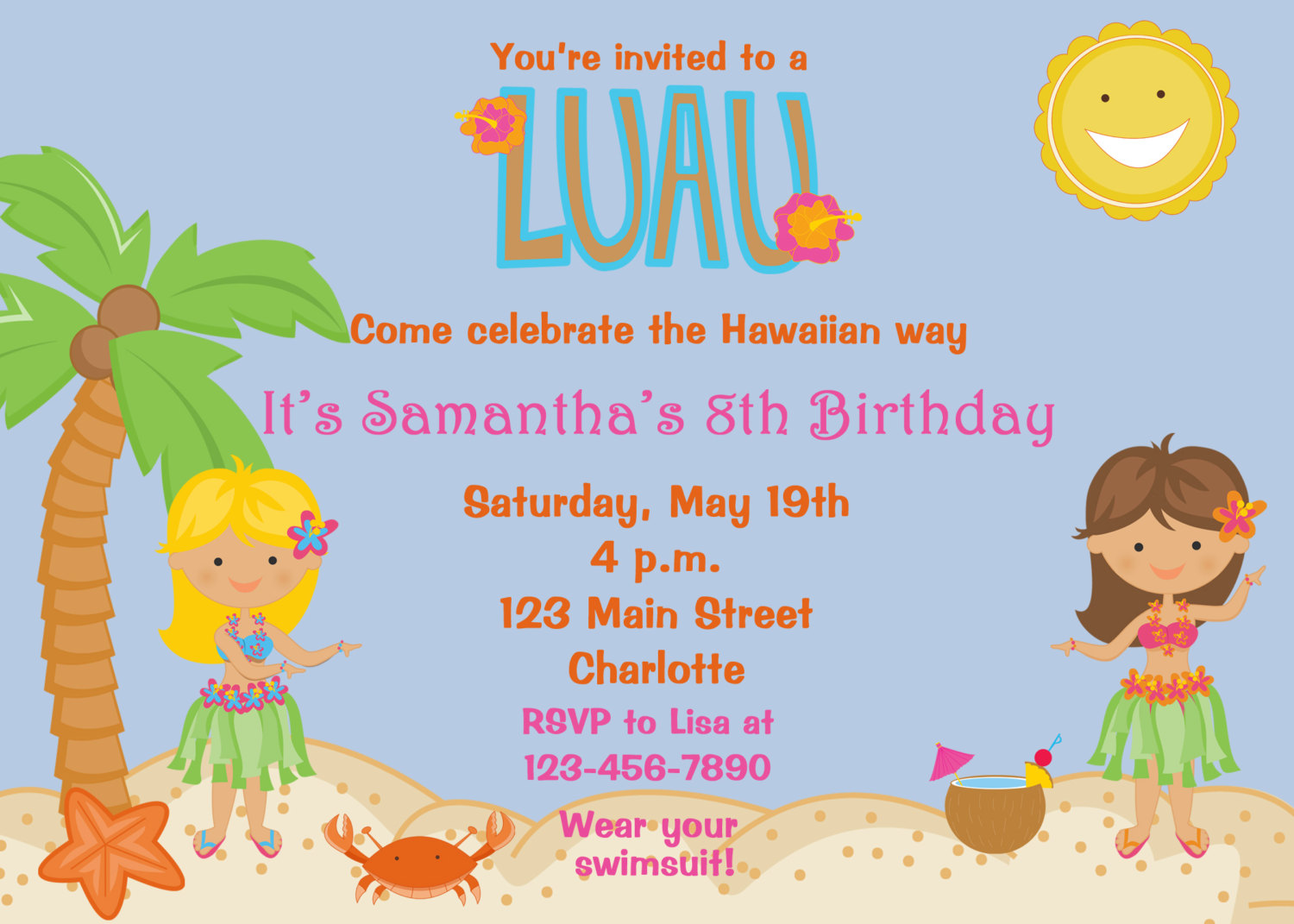 Luau clipart luau invitation. Birthday party invitations