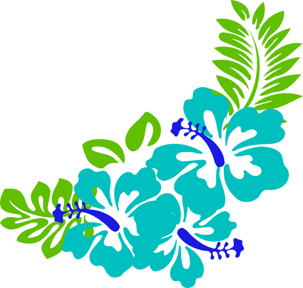 blue tropical flowers png