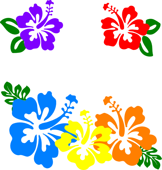 luau flower graphic. Blossom clipart border design graphic black and white library