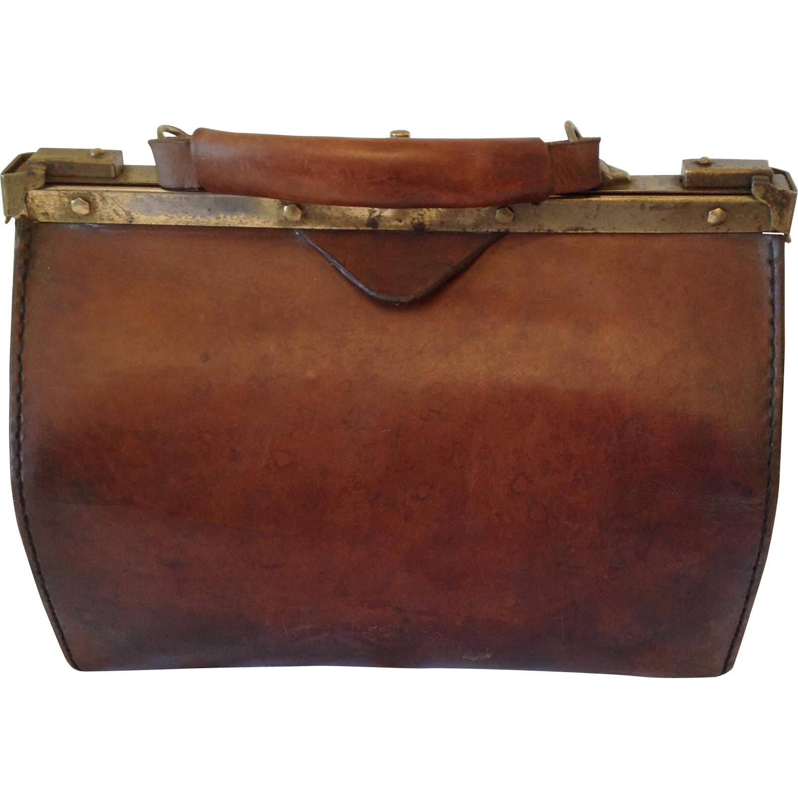 Luggage clip vintage suitcase. French gladstone doctors bag
