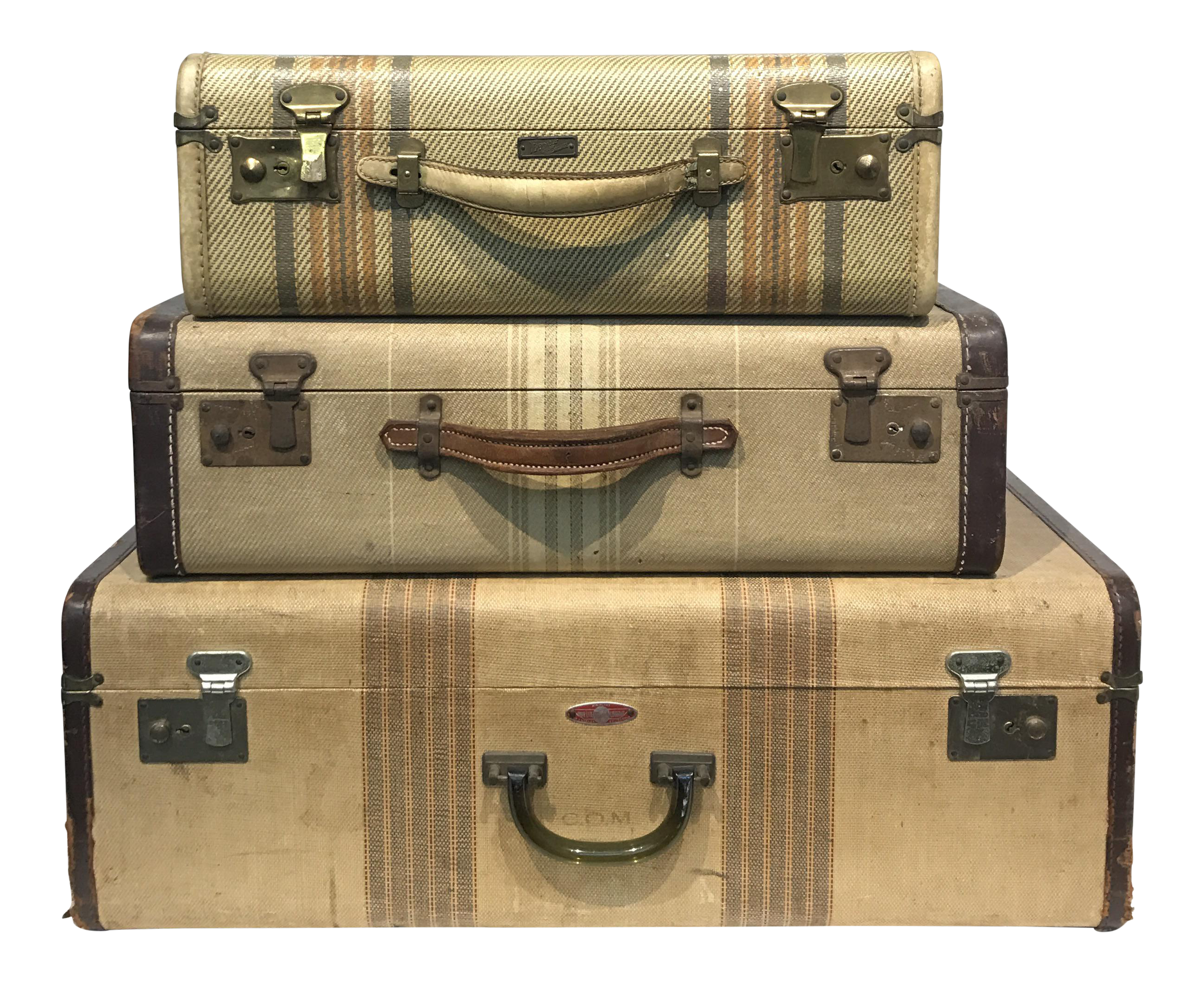 Luggage clip vintage suitcase. Striped suitcases set of