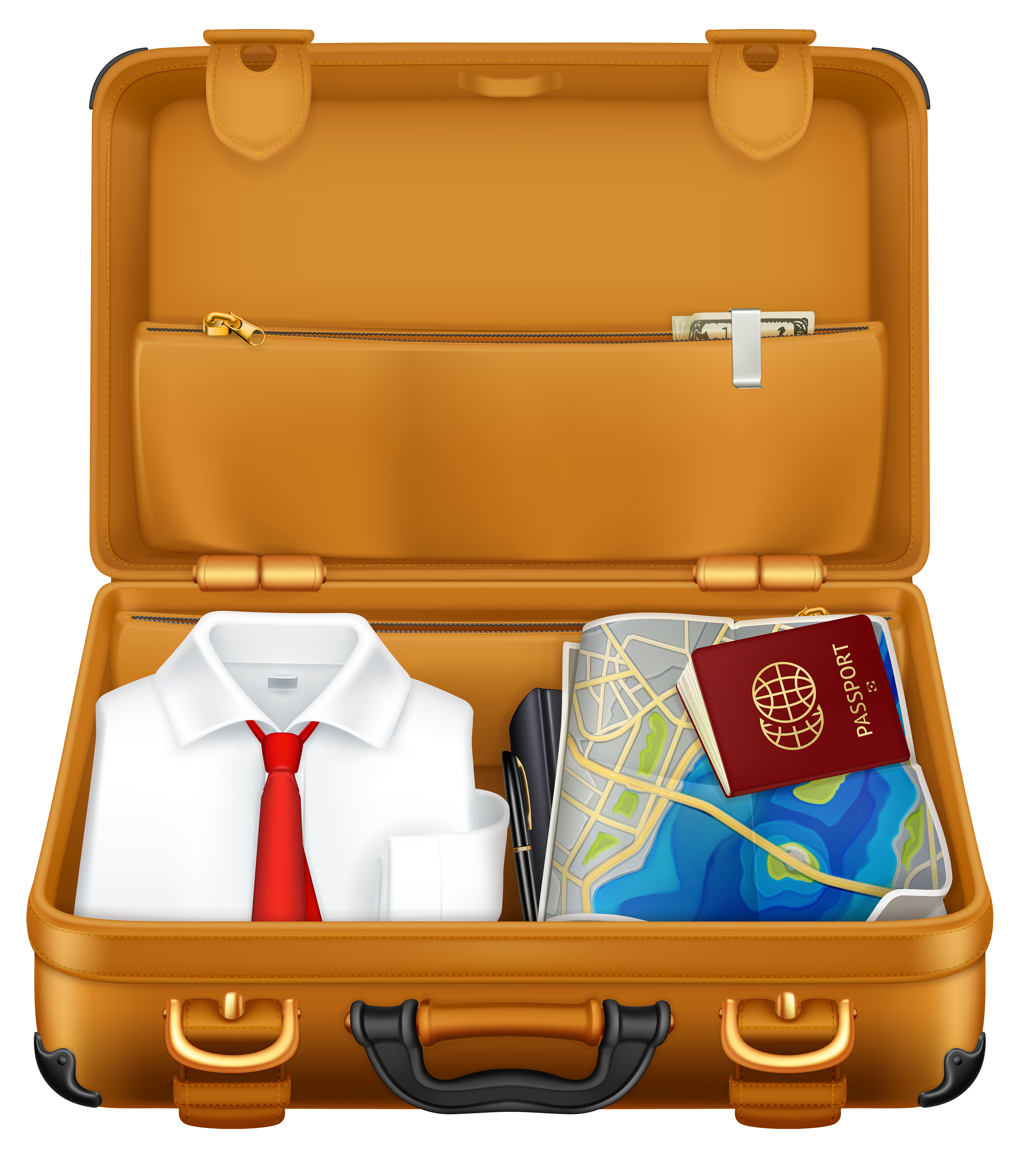 Brown suitcase with clothes. Passport clipart vector black and white download