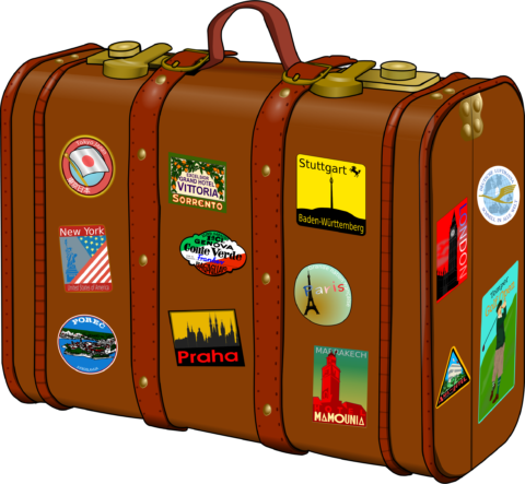 Luggage clipart passport. Suitcase with stickers soo