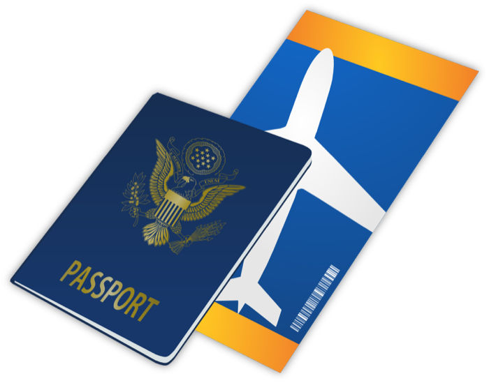 Travel passports luggage and. Passport clipart vector freeuse stock