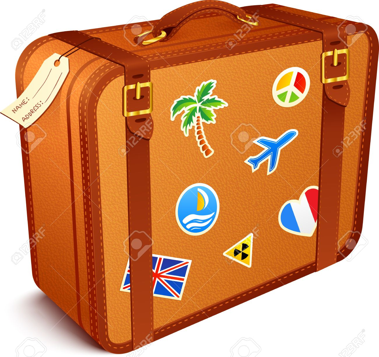 Vintage . Suitcase clipart image free stock