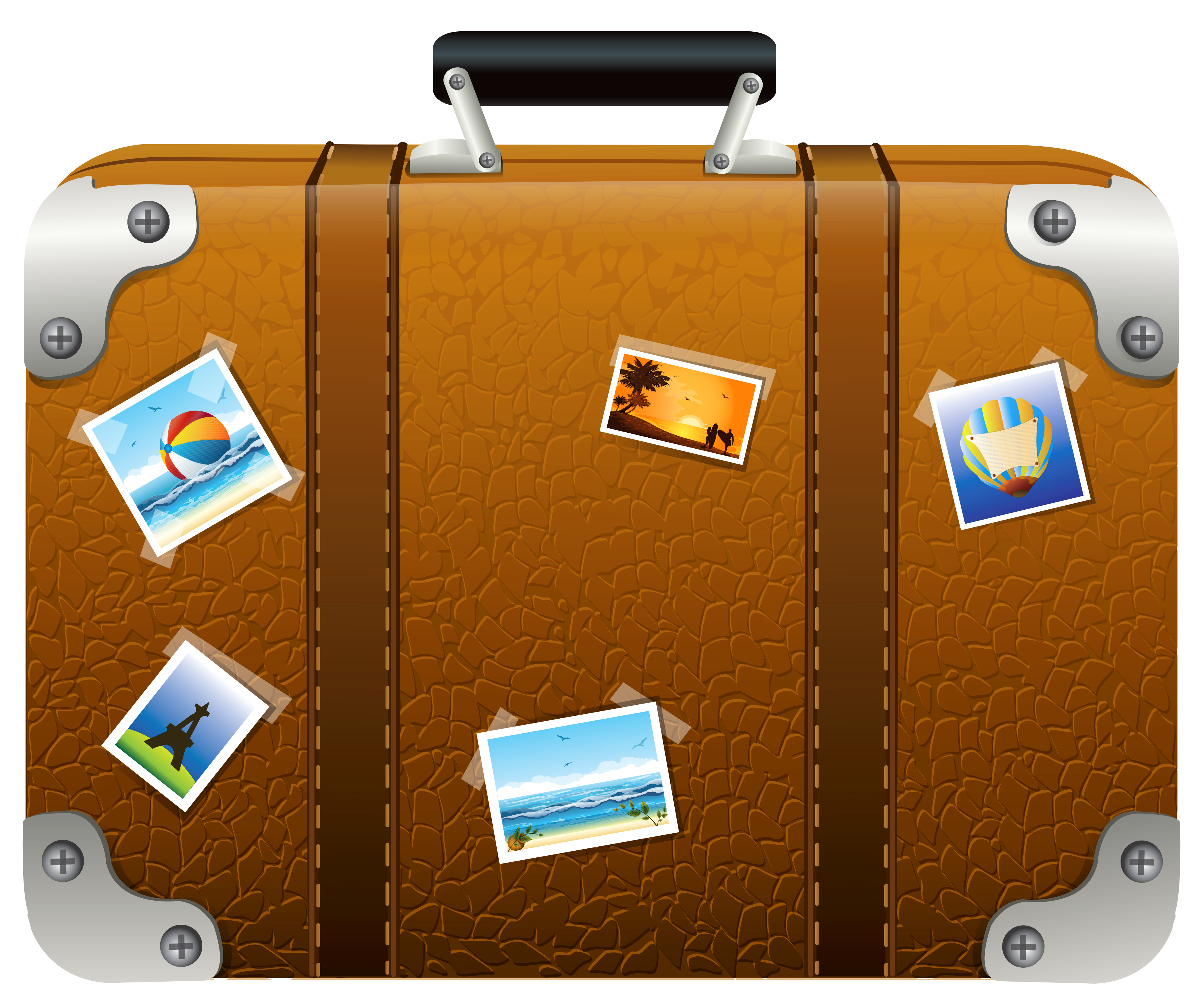 Brown with pictures png. Suitcase clipart clip art transparent
