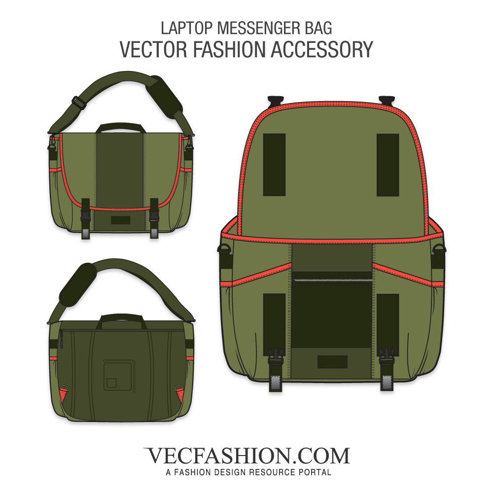Luggage vector illustration. Laptop messenger bag template
